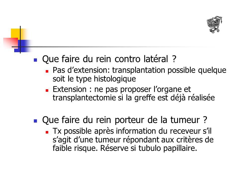 Que faire du rein contro latéral ? Pas dextension: transplantation possible quelque soit le type histologique Extension : ne pas proposer lorgane et t