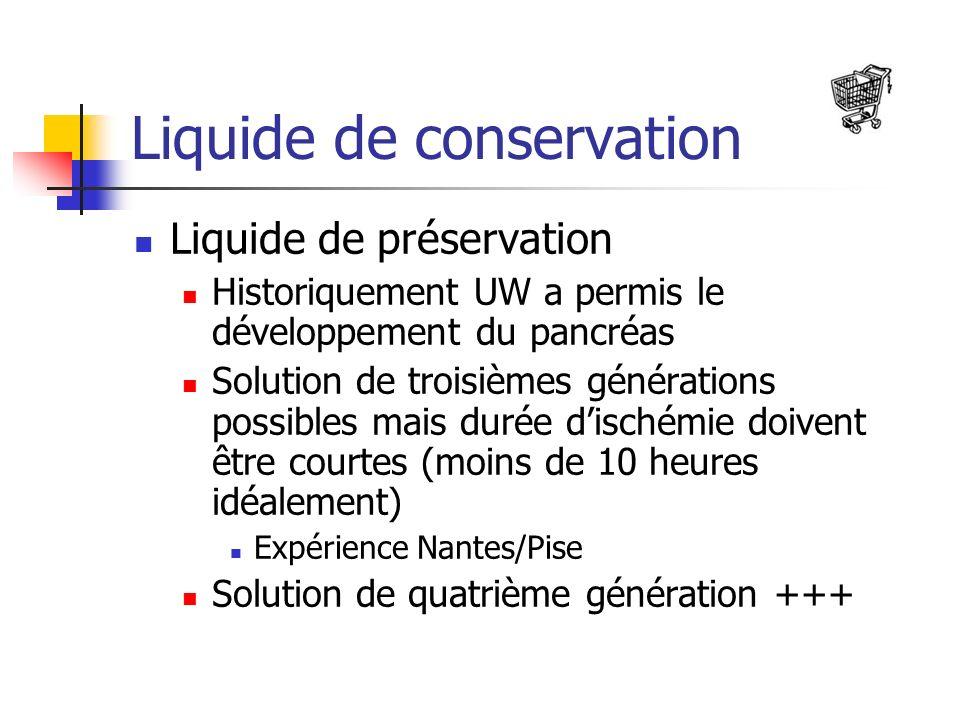 Liquide de conservation Liquide de préservation Historiquement UW a permis le développement du pancréas Solution de troisièmes générations possibles mais durée dischémie doivent être courtes (moins de 10 heures idéalement) Expérience Nantes/Pise Solution de quatrième génération +++