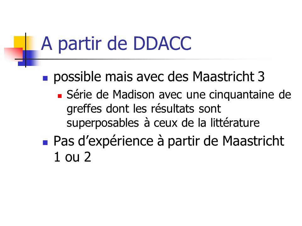 A partir de DDACC possible mais avec des Maastricht 3 Série de Madison avec une cinquantaine de greffes dont les résultats sont superposables à ceux de la littérature Pas dexpérience à partir de Maastricht 1 ou 2
