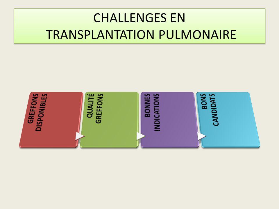 CHALLENGES EN TRANSPLANTATION PULMONAIRE
