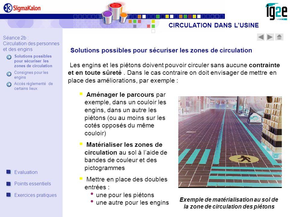 Séance 2b : Circulation des personnes et des engins Solutions possibles pour sécuriser les zones de circulation Consignes pour les engins Accès réglem
