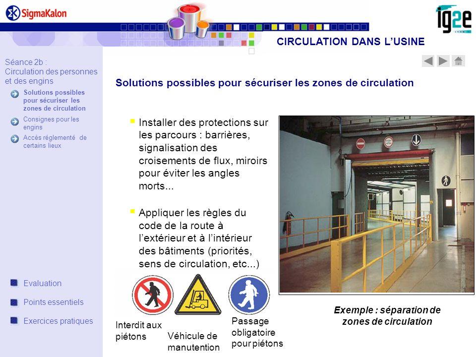 Interdit aux piétons Véhicule de manutention Passage obligatoire pour piétons Installer des protections sur les parcours : barrières, signalisation de