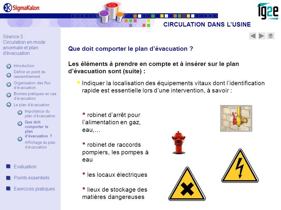 Les éléments à prendre en compte et à insérer sur le plan dévacuation sont (suite) : Indiquer la localisation des équipements vitaux dont lidentificat