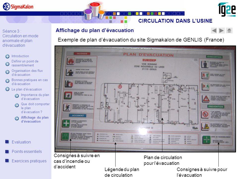 Plan de circulation pour lévacuation Consignes à suivre pour lévacuation Consignes à suivre en cas dincendie ou daccident Légende du plan de circulati