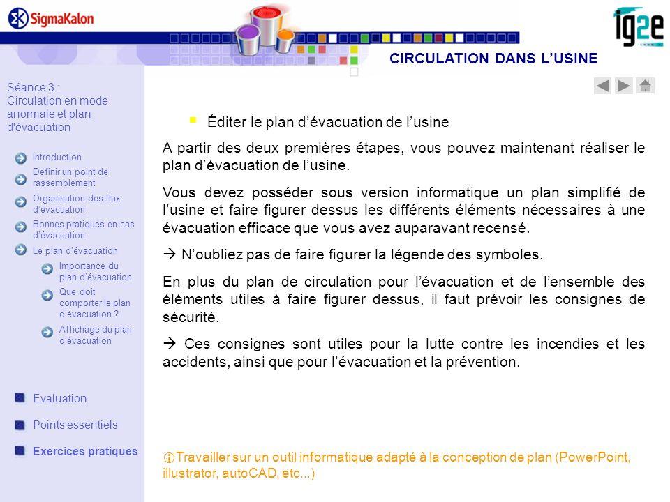 Éditer le plan dévacuation de lusine A partir des deux premières étapes, vous pouvez maintenant réaliser le plan dévacuation de lusine. Vous devez pos