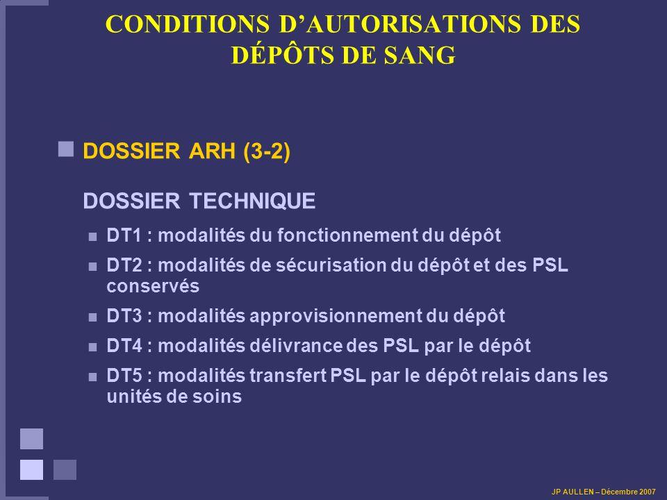 CONDITIONS DAUTORISATIONS DES DÉPÔTS DE SANG DOSSIER ARH (3-2) DOSSIER TECHNIQUE DT1 : modalités du fonctionnement du dépôt DT2 : modalités de sécurisation du dépôt et des PSL conservés DT3 : modalités approvisionnement du dépôt DT4 : modalités délivrance des PSL par le dépôt DT5 : modalités transfert PSL par le dépôt relais dans les unités de soins JP AULLEN – Décembre 2007