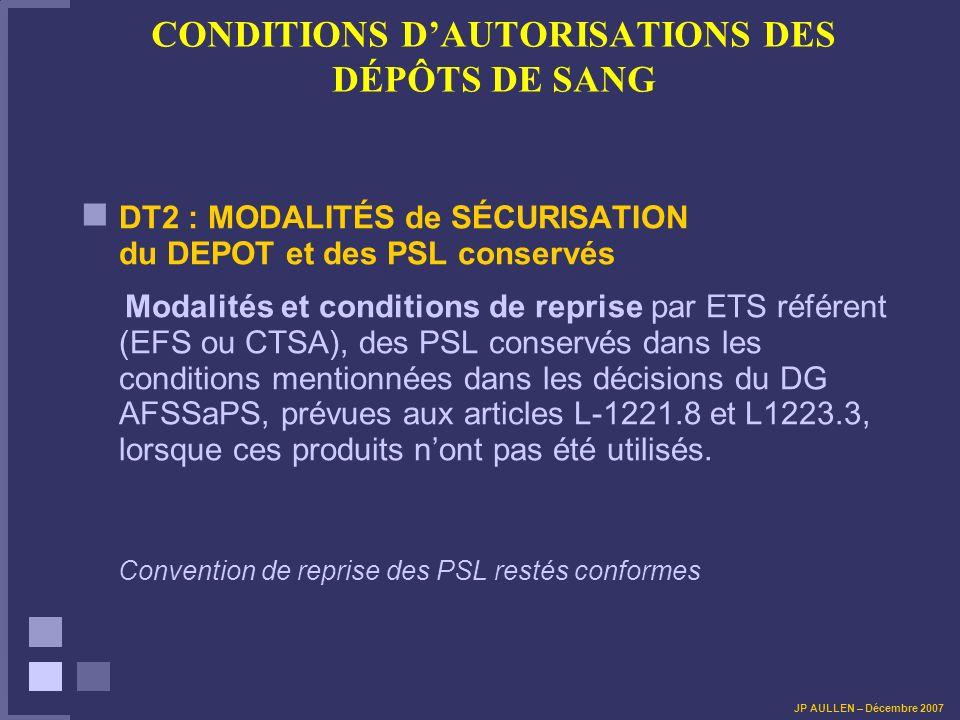 CONDITIONS DAUTORISATIONS DES DÉPÔTS DE SANG DT2 : MODALITÉS de SÉCURISATION du DEPOT et des PSL conservés Modalités et conditions de reprise par ETS référent (EFS ou CTSA), des PSL conservés dans les conditions mentionnées dans les décisions du DG AFSSaPS, prévues aux articles L-1221.8 et L1223.3, lorsque ces produits nont pas été utilisés.