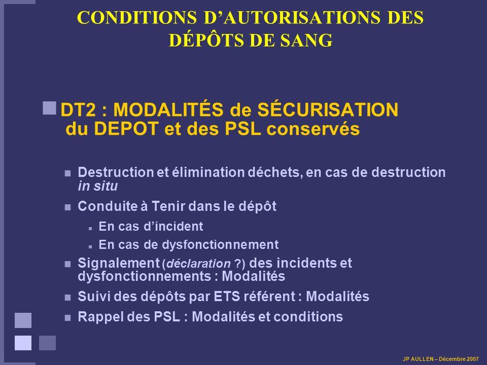 CONDITIONS DAUTORISATIONS DES DÉPÔTS DE SANG DT2 : MODALITÉS de SÉCURISATION du DEPOT et des PSL conservés Destruction et élimination déchets, en cas de destruction in situ Conduite à Tenir dans le dépôt En cas dincident En cas de dysfonctionnement Signalement (déclaration ?) des incidents et dysfonctionnements : Modalités Suivi des dépôts par ETS référent : Modalités Rappel des PSL : Modalités et conditions JP AULLEN – Décembre 2007
