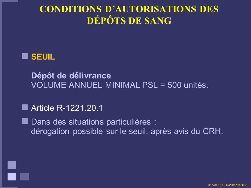 CONDITIONS DAUTORISATIONS DES DÉPÔTS DE SANG SEUIL Dépôt de délivrance VOLUME ANNUEL MINIMAL PSL = 500 unités.