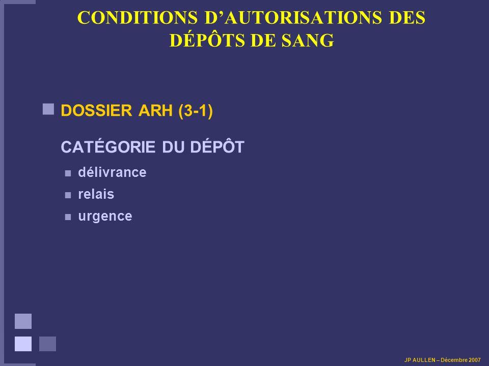 CONDITIONS DAUTORISATIONS DES DÉPÔTS DE SANG DOSSIER ARH (3-1) CATÉGORIE DU DÉPÔT délivrance relais urgence JP AULLEN – Décembre 2007
