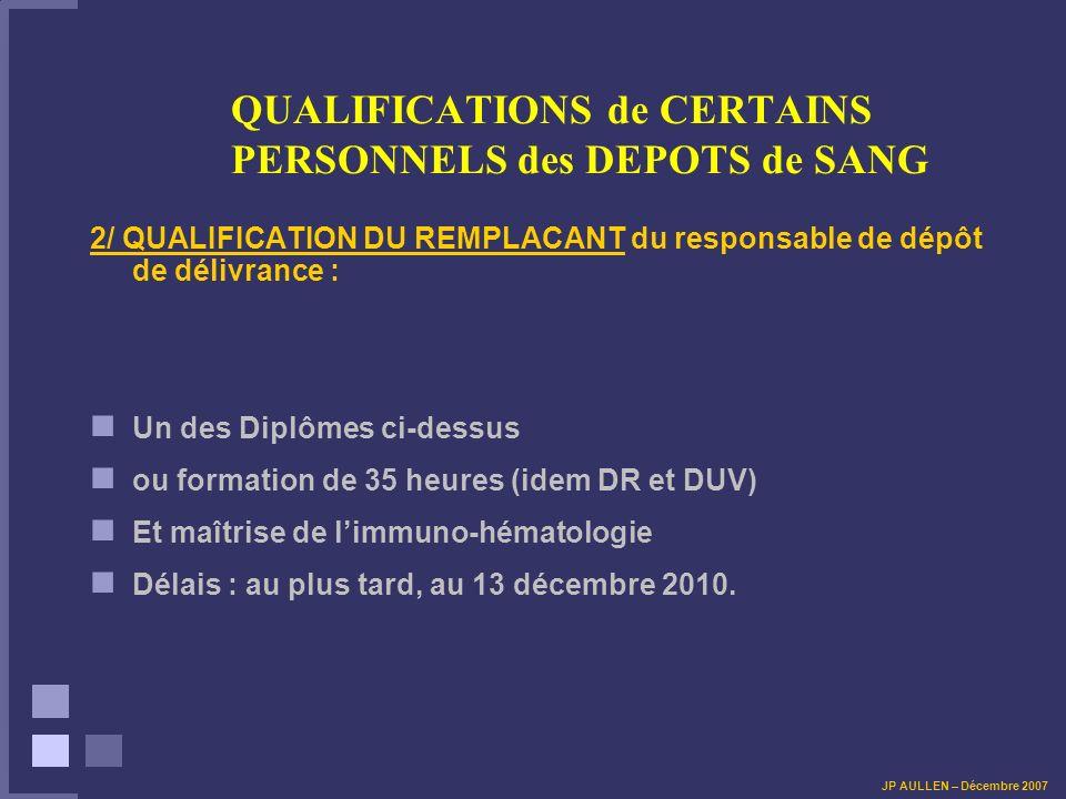 QUALIFICATIONS de CERTAINS PERSONNELS des DEPOTS de SANG Modules Théoriques et Pratiques :.