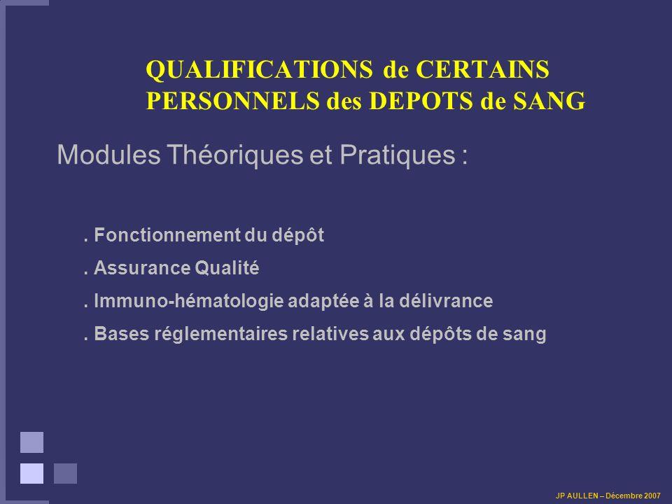QUALIFICATIONS de CERTAINS PERSONNELS des DEPOTS de SANG LIVRET DE RECONNAISSANCE DES COMPETENCES PROFESSIONNELLES EN TRANSFUSION SANGUINE 1/ RECEVABILITE DE LA DEMANDE 2/ PRESENTATION DE LEXPERIENCE ET DES COMPETENCES JP AULLEN – Décembre 2007