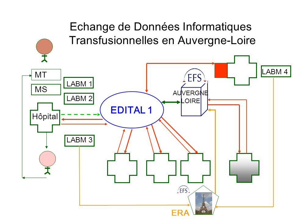 MT MS Hôpital LABM 1 LABM 2 LABM 3 ERA LABM 4 AUVERGNE LOIRE EDITAL 1 Echange de Données Informatiques Transfusionnelles en Auvergne-Loire
