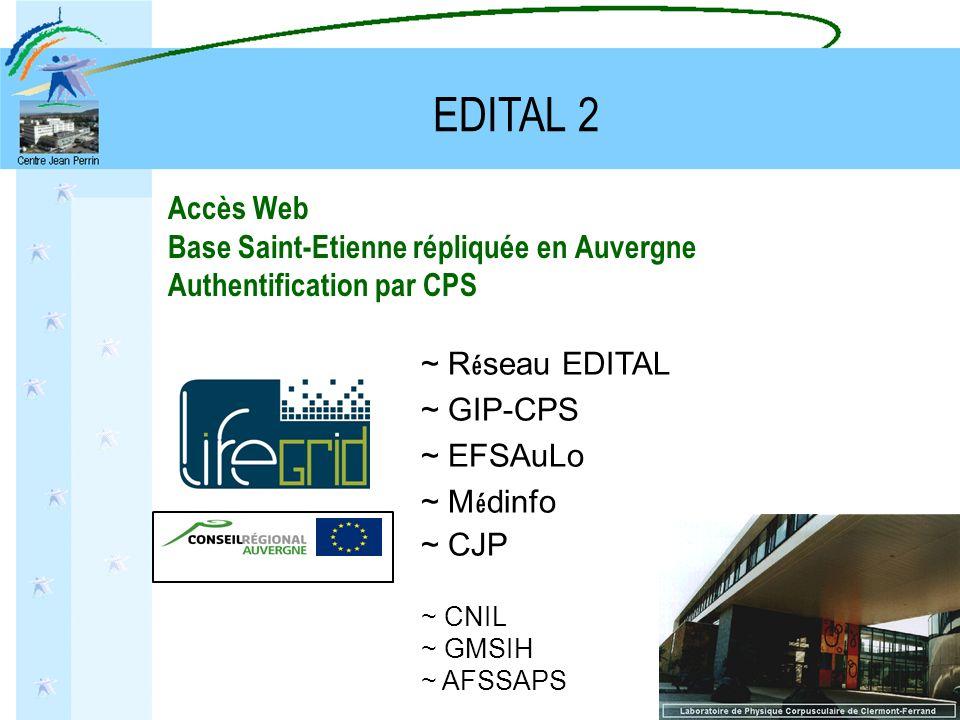 Accès Web Base Saint-Etienne répliquée en Auvergne Authentification par CPS ~ R é seau EDITAL ~ GIP-CPS ~ EFSAuLo ~ M é dinfo ~ CJP ~ CNIL ~ GMSIH ~ A
