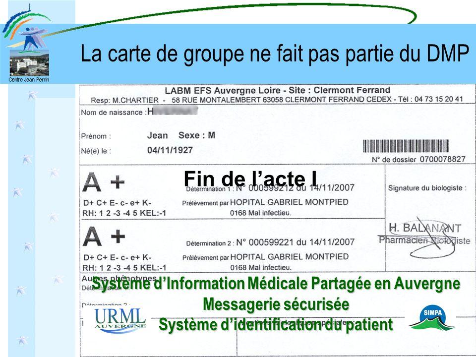 La carte de groupe ne fait pas partie du DMP Fin de lacte I Système dInformation Médicale Partagée en Auvergne Messagerie sécurisée Système didentific