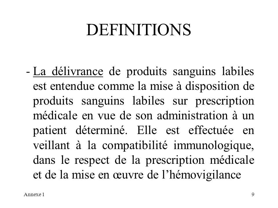 Annexe 19 DEFINITIONS -La délivrance de produits sanguins labiles est entendue comme la mise à disposition de produits sanguins labiles sur prescription médicale en vue de son administration à un patient déterminé.
