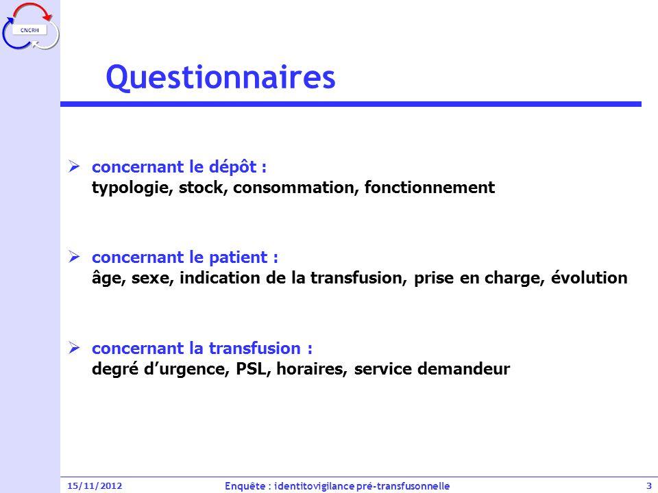 15/11/2012 Participation des dépôts Enquête : identitovigilance pré-transfusonnelle 4