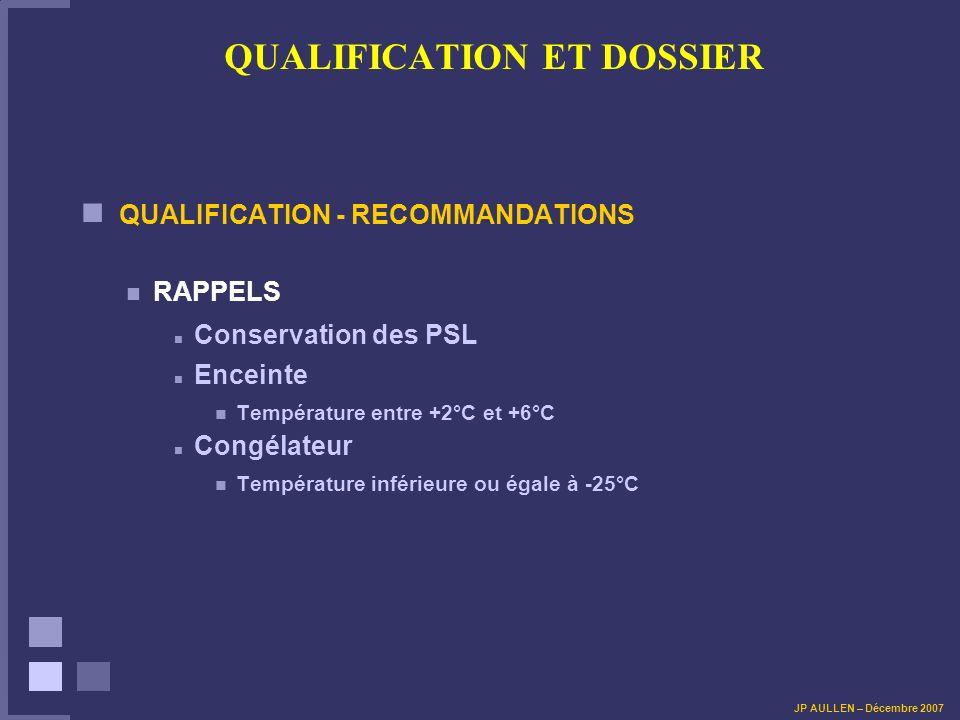 QUALIFICATION ET DOSSIER QUALIFICATION - RECOMMANDATIONS RAPPELS Conservation des PSL Enceinte Température entre +2°C et +6°C Congélateur Température