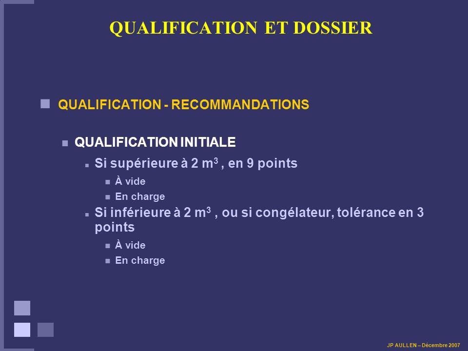 QUALIFICATION ET DOSSIER QUALIFICATION - RECOMMANDATIONS QUALIFICATION INITIALE Si supérieure à 2 m 3, en 9 points À vide En charge Si inférieure à 2
