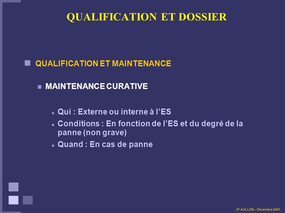 QUALIFICATION ET DOSSIER QUALIFICATION ET MAINTENANCE MAINTENANCE CURATIVE Qui : Externe ou interne à lES Conditions : En fonction de lES et du degré
