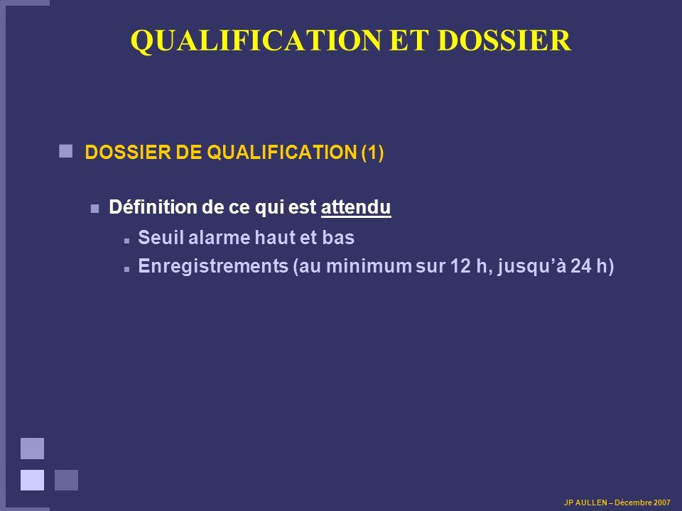 QUALIFICATION ET DOSSIER DOSSIER DE QUALIFICATION (1) Définition de ce qui est attendu Seuil alarme haut et bas Enregistrements (au minimum sur 12 h,