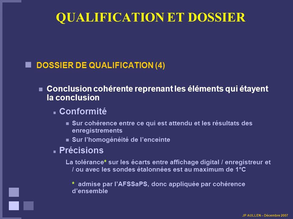 QUALIFICATION ET DOSSIER DOSSIER DE QUALIFICATION (4) Conclusion cohérente reprenant les éléments qui étayent la conclusion Conformité Sur cohérence e