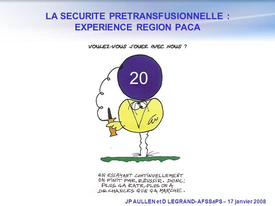 LA SECURITE PRETRANSFUSIONNELLE : EXPERIENCE REGION PACA JP AULLEN et D LEGRAND- AFSSaPS – 17 janvier 2008 20