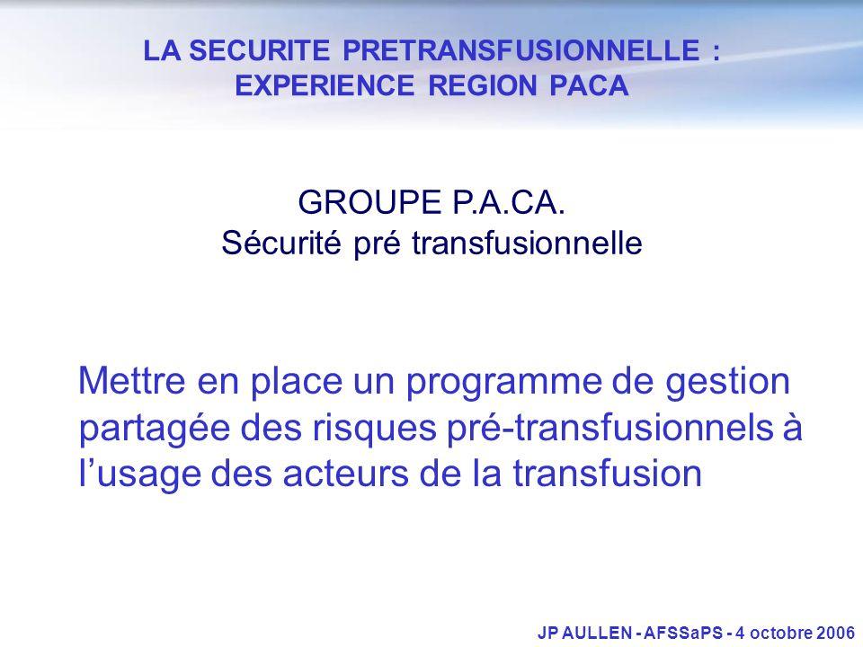 LA SECURITE PRETRANSFUSIONNELLE : EXPERIENCE REGION PACA GROUPE P.A.CA. Sécurité pré transfusionnelle Mettre en place un programme de gestion partagée
