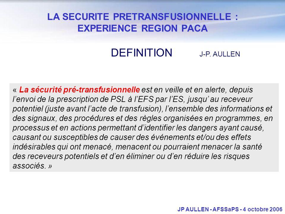 LA SECURITE PRETRANSFUSIONNELLE : EXPERIENCE REGION PACA JP AULLEN - AFSSaPS - 4 octobre 2006 « La sécurité pré-transfusionnelle est en veille et en a