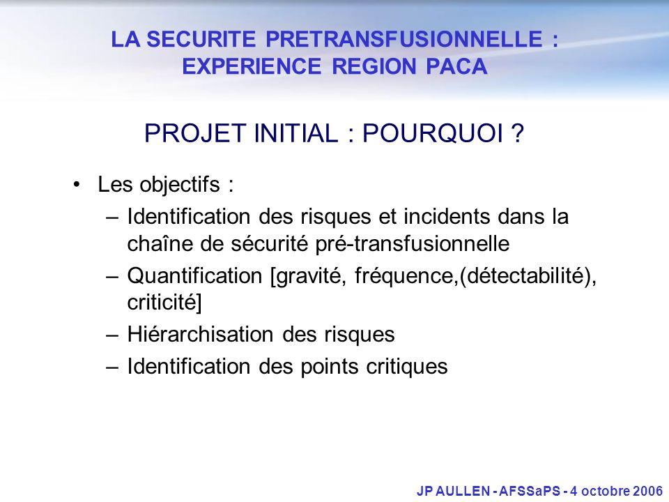 LA SECURITE PRETRANSFUSIONNELLE : EXPERIENCE REGION PACA JP AULLEN - AFSSaPS - 4 octobre 2006 PROJET INITIAL : POURQUOI ? Les objectifs : –Identificat
