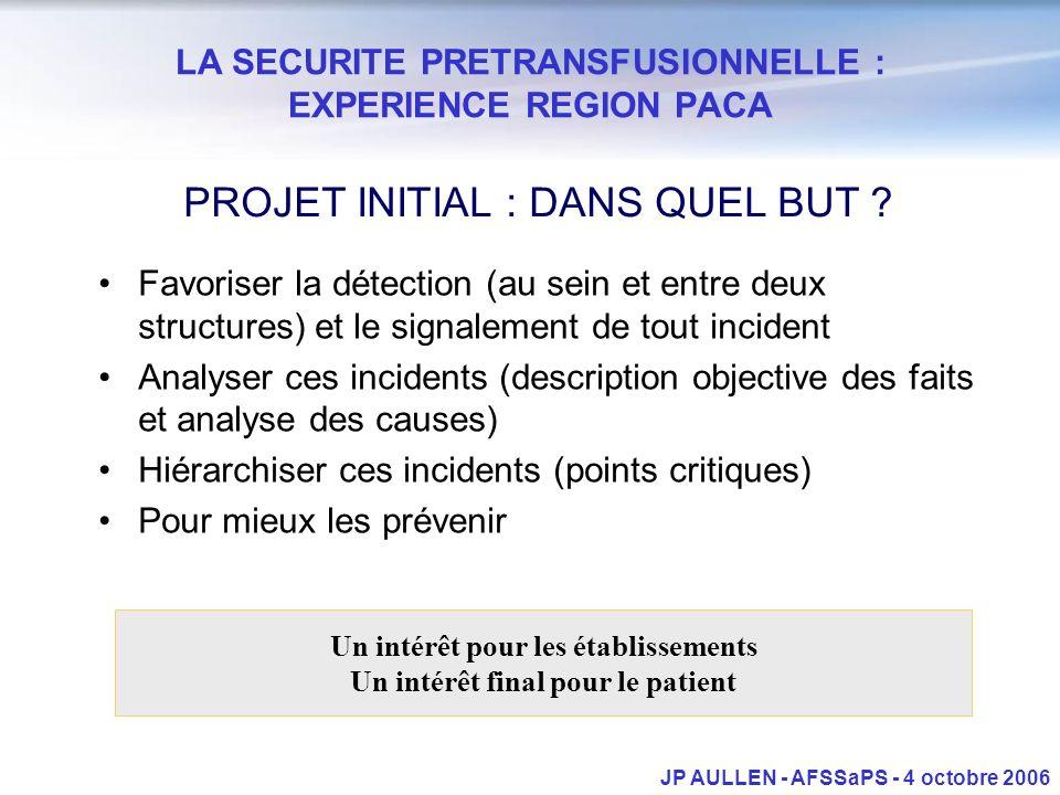 LA SECURITE PRETRANSFUSIONNELLE : EXPERIENCE REGION PACA JP AULLEN - AFSSaPS - 4 octobre 2006 PROJET INITIAL : DANS QUEL BUT ? Favoriser la détection