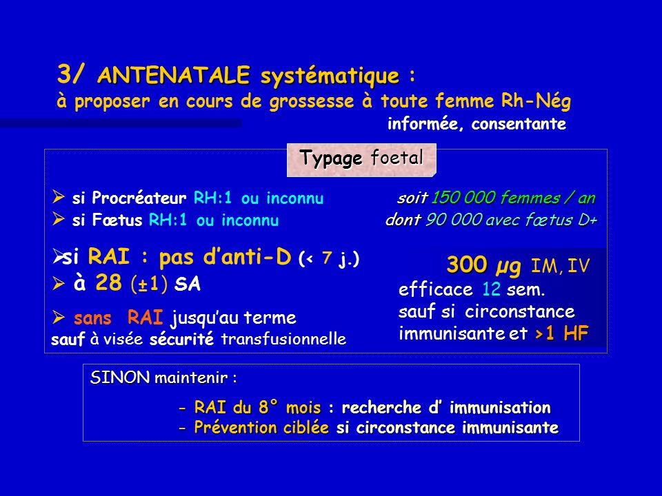 ANTENATALE systématique 3/ ANTENATALE systématique : à proposer en cours de grossesse à toute femme Rh-Nég informée, consentante soit 150 000 femmes /