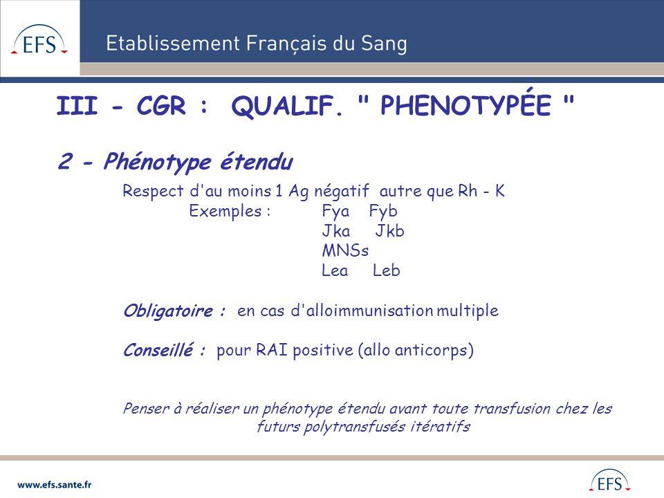 III - CGR : QUALIF.