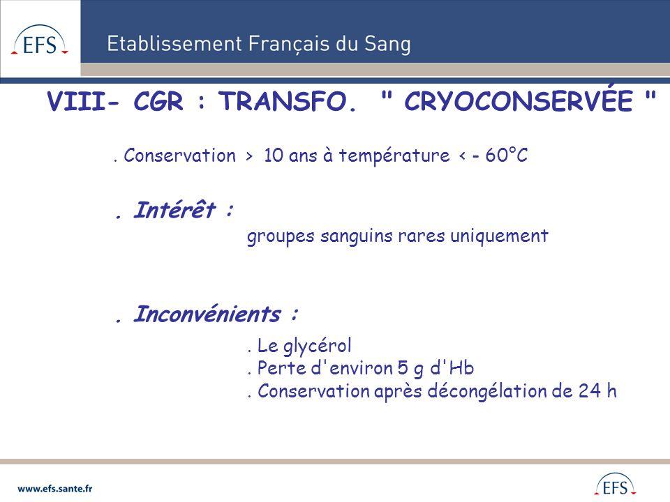 VIII- CGR : TRANSFO.