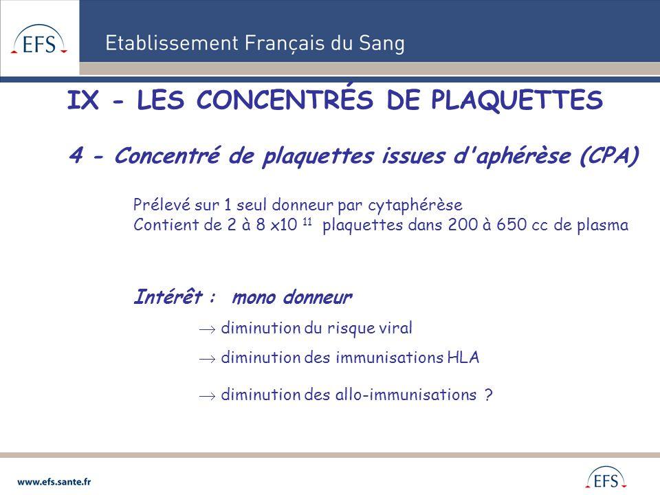 IX - LES CONCENTRÉS DE PLAQUETTES 4 - Concentré de plaquettes issues d'aphérèse (CPA) Prélevé sur 1 seul donneur par cytaphérèse Contient de 2 à 8 x10