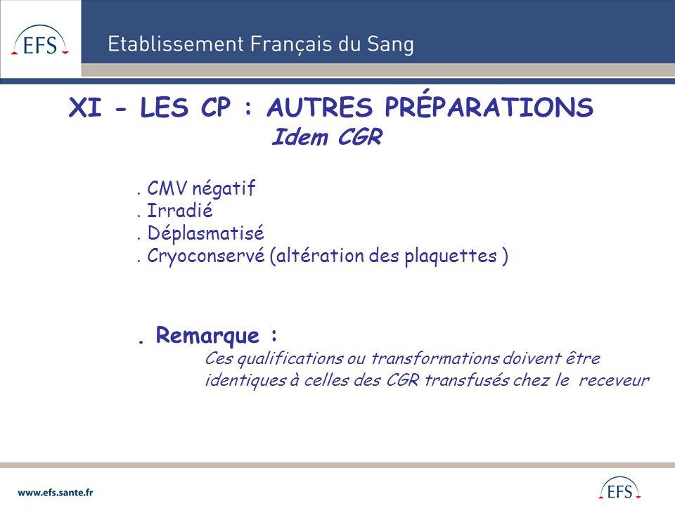 XI - LES CP : AUTRES PRÉPARATIONS Idem CGR. CMV négatif. Irradié. Déplasmatisé. Cryoconservé (altération des plaquettes ). Remarque : Ces qualificatio