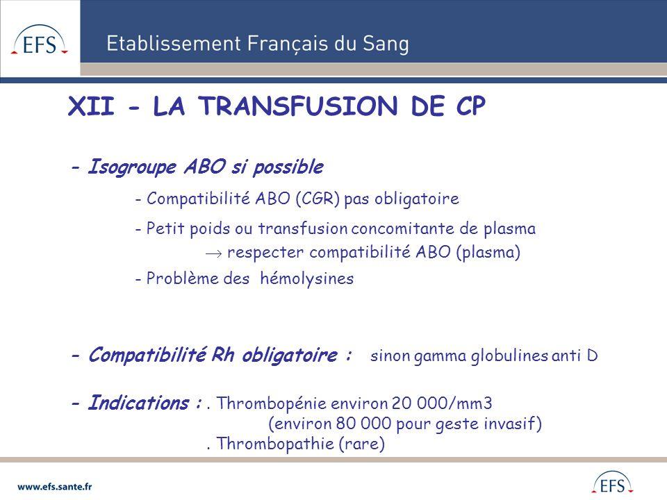 XII - LA TRANSFUSION DE CP - Isogroupe ABO si possible - Compatibilité ABO (CGR) pas obligatoire - Petit poids ou transfusion concomitante de plasma r