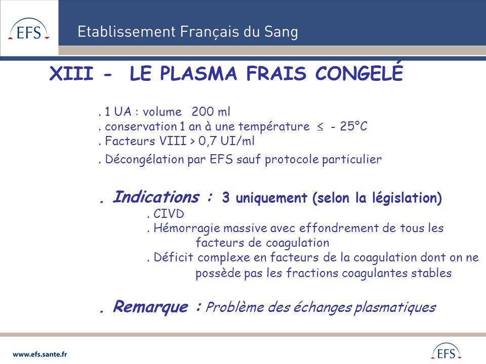 XIII - LE PLASMA FRAIS CONGELÉ. 1 UA : volume 200 ml. conservation 1 an à une température - 25°C. Facteurs VIII > 0,7 UI/ml. Décongélation par EFS sau