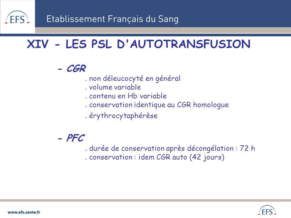 XIV - LES PSL D'AUTOTRANSFUSION - CGR. non déleucocyté en général. volume variable. contenu en Hb variable. conservation identique au CGR homologue. é