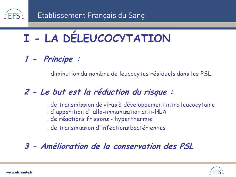 I - LA DÉLEUCOCYTATION 1 - Principe : diminution du nombre de leucocytes résiduels dans les PSL. 2 - Le but est la réduction du risque :. de transmiss