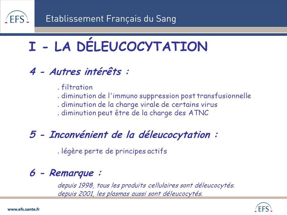I - LA DÉLEUCOCYTATION 4 - Autres intérêts :. filtration. diminution de l'immuno suppression post transfusionnelle. diminution de la charge virale de