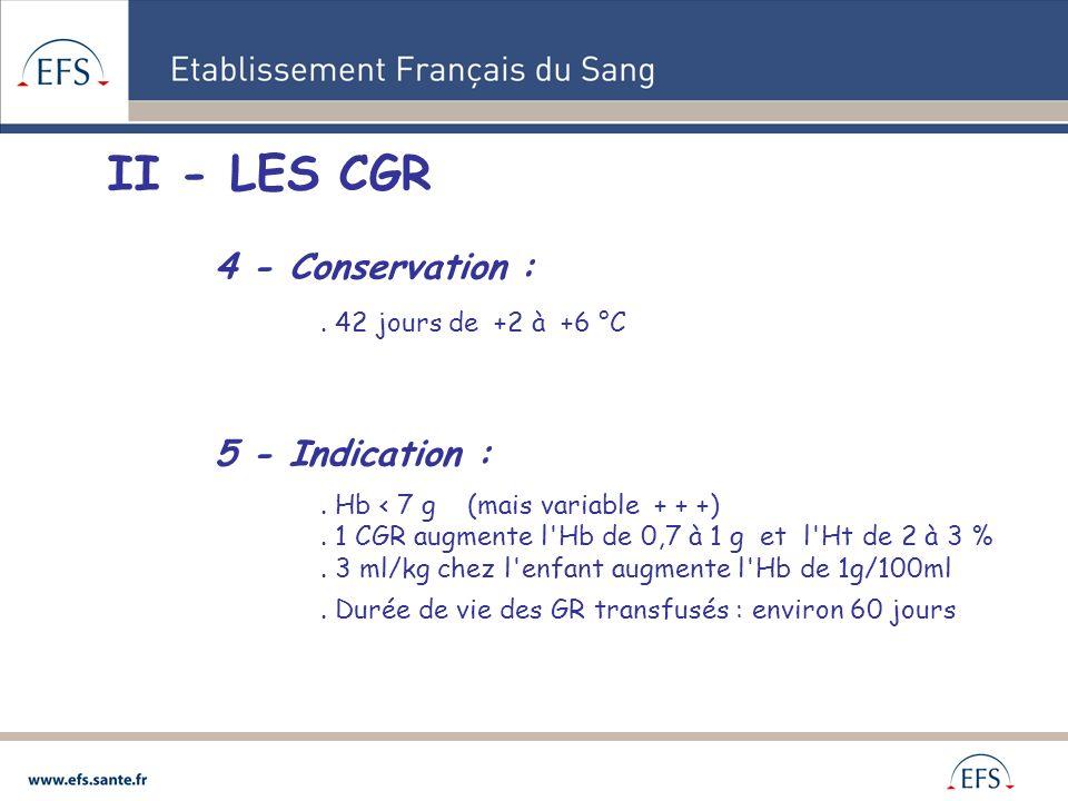 II - LES CGR 4 - Conservation :. 42 jours de +2 à +6 °C 5 - Indication :. Hb < 7 g (mais variable + + +). 1 CGR augmente l'Hb de 0,7 à 1 g et l'Ht de