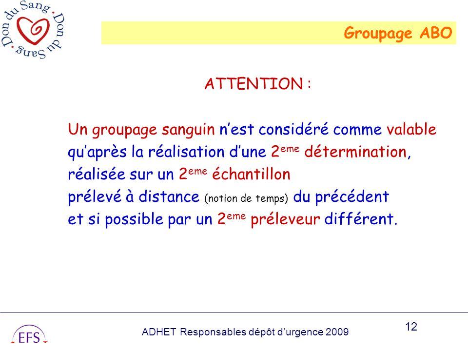ADHET Responsables dépôt durgence 2009 12 ATTENTION : Un groupage sanguin nest considéré comme valable quaprès la réalisation dune 2 eme détermination