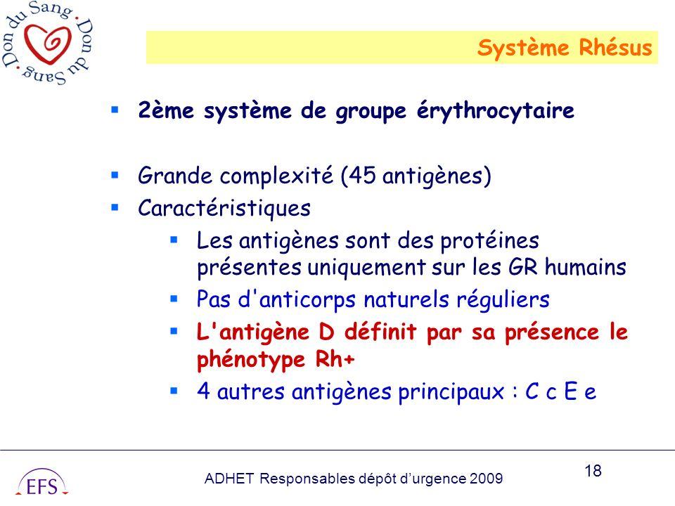 ADHET Responsables dépôt durgence 2009 18 2ème système de groupe érythrocytaire Grande complexité (45 antigènes) Caractéristiques Les antigènes sont d