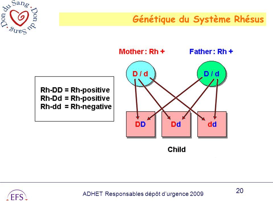 ADHET Responsables dépôt durgence 2009 20 Génétique du Système Rhésus