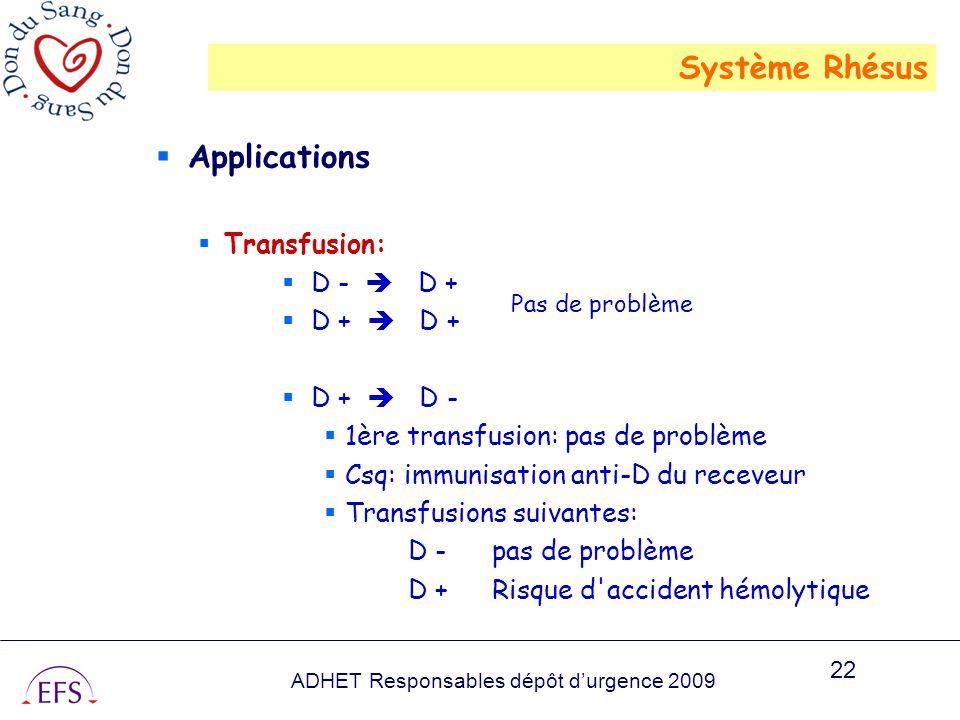 ADHET Responsables dépôt durgence 2009 22 Applications Transfusion: D - D + D + D + D + D - 1ère transfusion: pas de problème Csq: immunisation anti-D