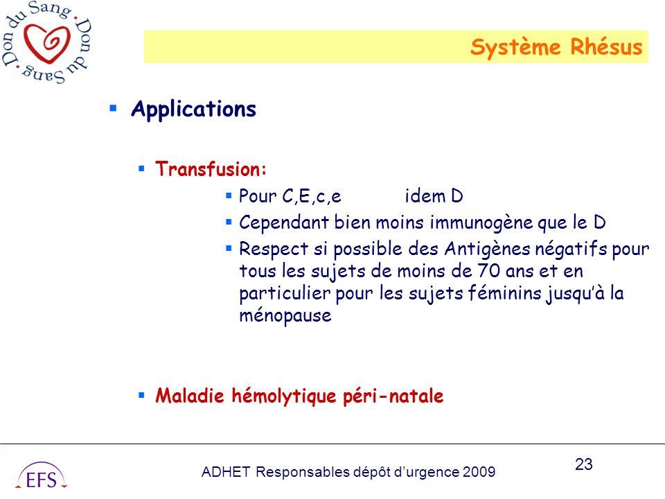 ADHET Responsables dépôt durgence 2009 23 Applications Transfusion: Pour C,E,c,e idem D Cependant bien moins immunogène que le D Respect si possible d