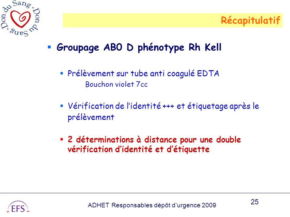 ADHET Responsables dépôt durgence 2009 25 Groupage AB0 D phénotype Rh Kell Prélèvement sur tube anti coagulé EDTA Bouchon violet 7cc Vérification de l