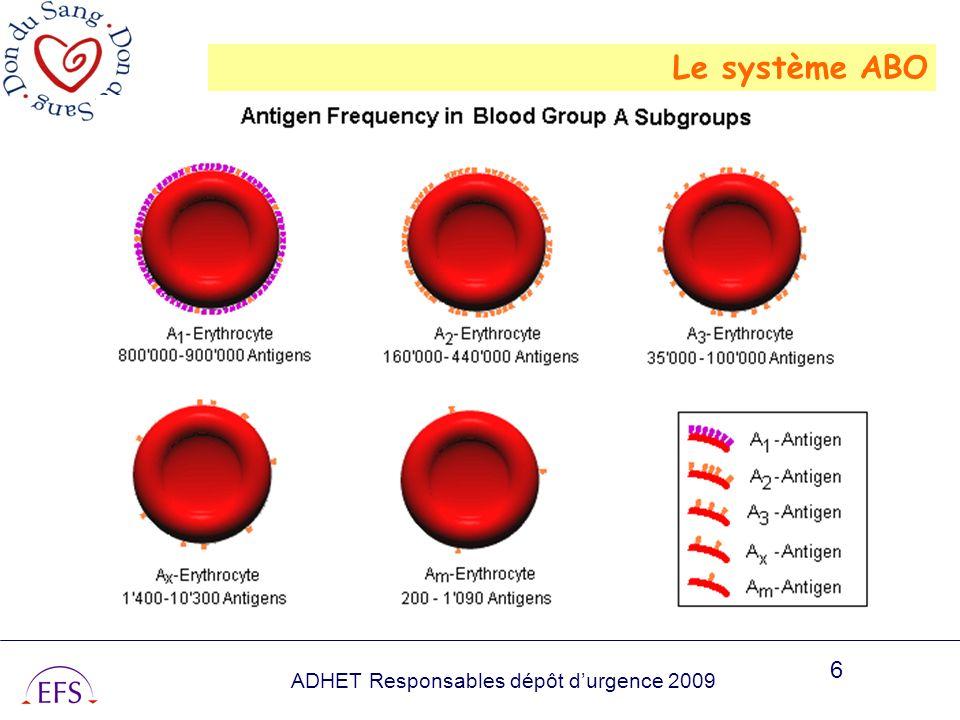 ADHET Responsables dépôt durgence 2009 6 Le système ABO