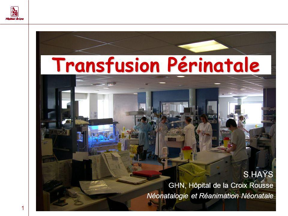 1 Transfusion Périnatale S.HAŸS GHN, Hôpital de la Croix Rousse Néonatalogie et Réanimation Néonatale